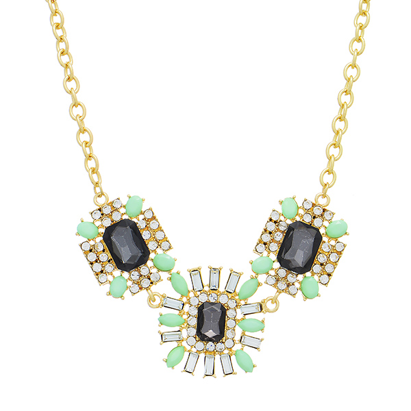 """Gold tone necklace featuring three black cabochons surrounded by clear rhinestones and mint green stones. Approximately 14"""" in length."""