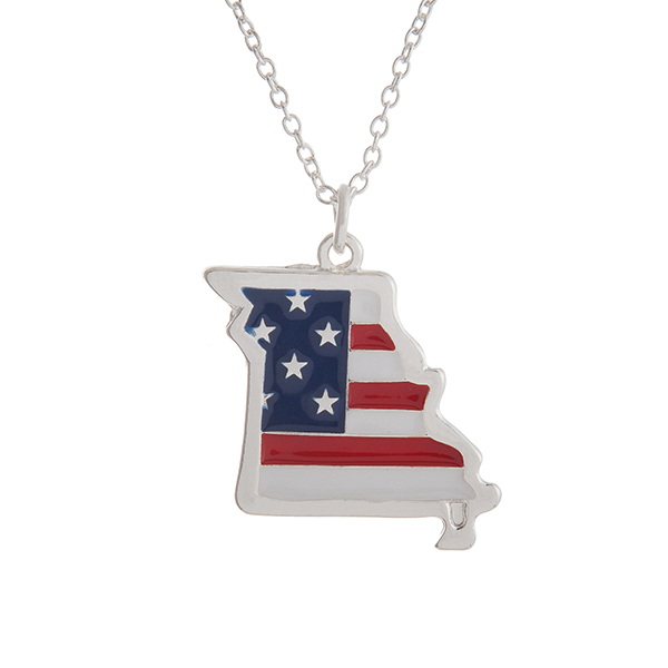"""Silver tone necklace with an American flag inspired state of Missouri pendant. Approximately 18"""" in length."""