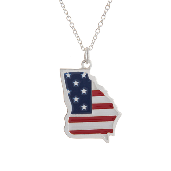 """Silver tone necklace with an American flag inspired state of Georgia pendant. Approximately 18"""" in length."""