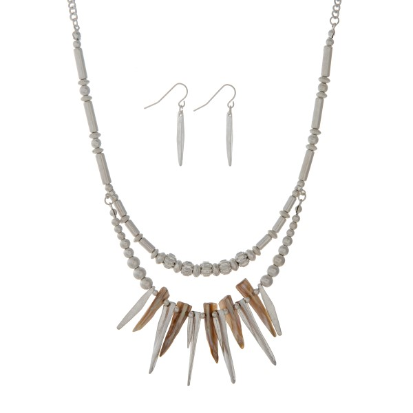 """Matte silver tone layering necklace set with metal and beige sticks. Approximately 19"""" in length."""