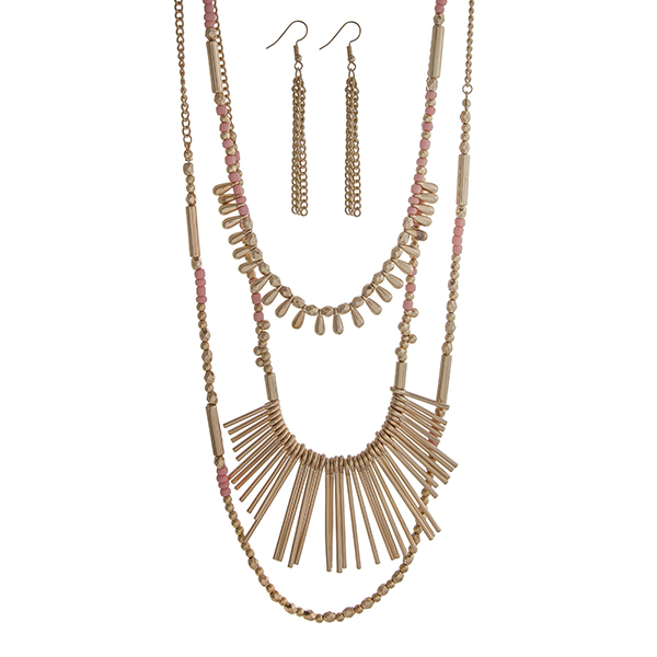"""Gold tone layering necklace set displaying pink and gold beads and metal fringe. Approximately 33"""" in length."""