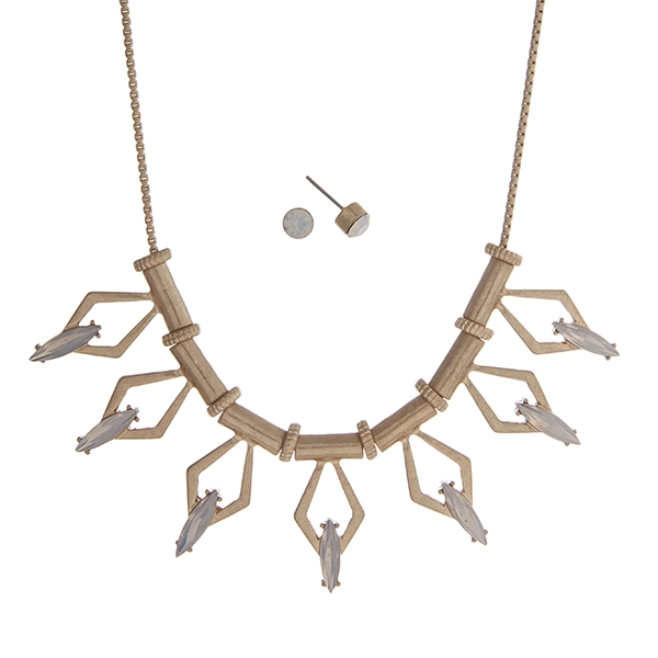 """Gold tone necklace set displaying a casting with open diamond shapes and white opal cabochons. Approximately 17"""" in length."""