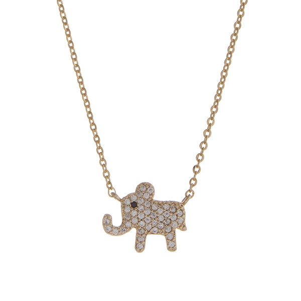 """Dainty gold tone pave elephant necklace. Approximately 15"""" in length."""