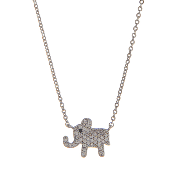 """Dainty silver tone pave elephant necklace. Approximately 15"""" in length."""