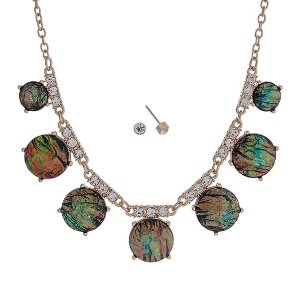 """Gold tone necklace set with shimmering round abalone stones accented with clear rhinestones. Approximately 16"""" in length."""