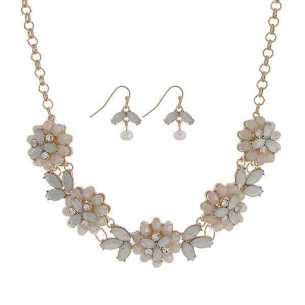 """Gold tone necklace set featuring five white opal glass stone flowers accented by clear rhinestones. Approximately 18"""" in length."""