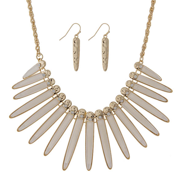 "Gold tone necklace set displaying shimmering ivory epoxy fringe with white opal stones. Approximately 18"" in length."