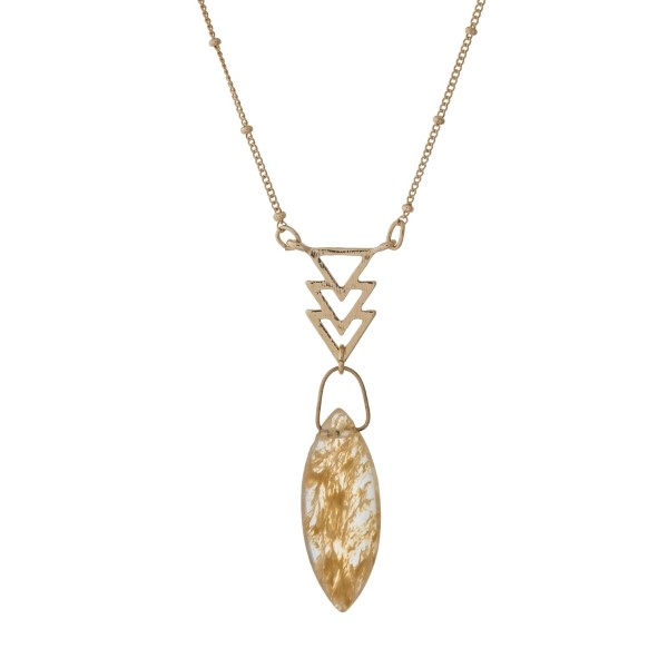 """Dainty gold tone necklace with arrows and a beige oval stone. Approximately 16"""" in length."""