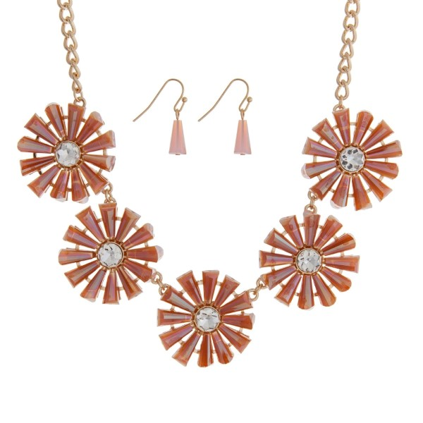 """Gold tone necklace set featuring five peach flowers with clear rhinestones. Approximately 16"""" in length."""