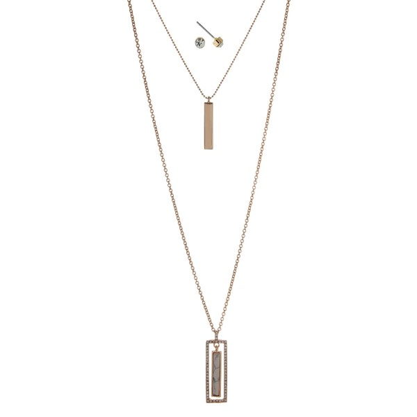 """Gold tone double layer necklace set with a white rectangle stone pendant. Approximately 32"""" in length."""