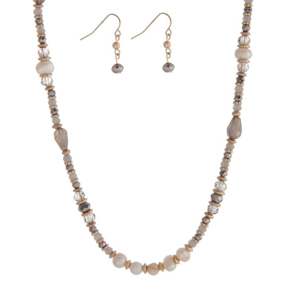 "Gold tone necklace set with gray and freshwater pearl beads. Approximately 16"" in length."