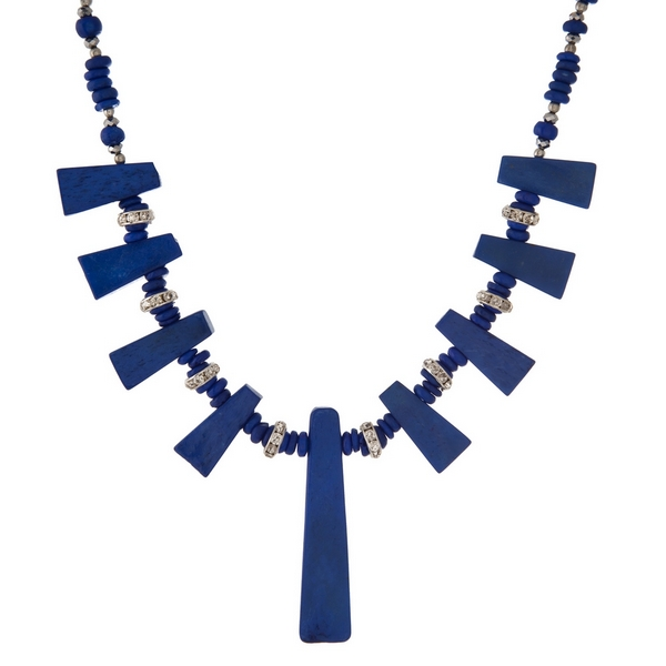 """Royal blue beaded necklace with lapis stones and silver tone accents. Approximately 16"""" in length."""