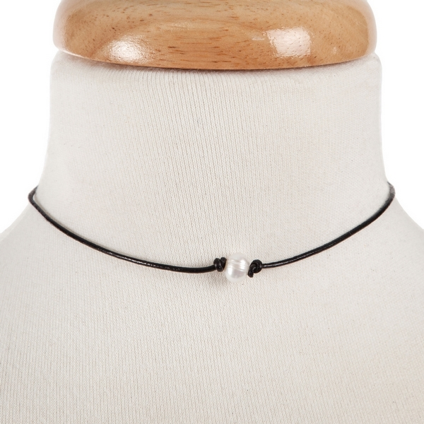 "Black waxed cord choker with a freshwater pearl bead. Approximately 12"" in length."