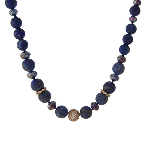 """Gold tone necklace with blue and iridescent faceted beads and lapis natural stone beads. Approximately 16"""" in length. Handmade in the USA."""