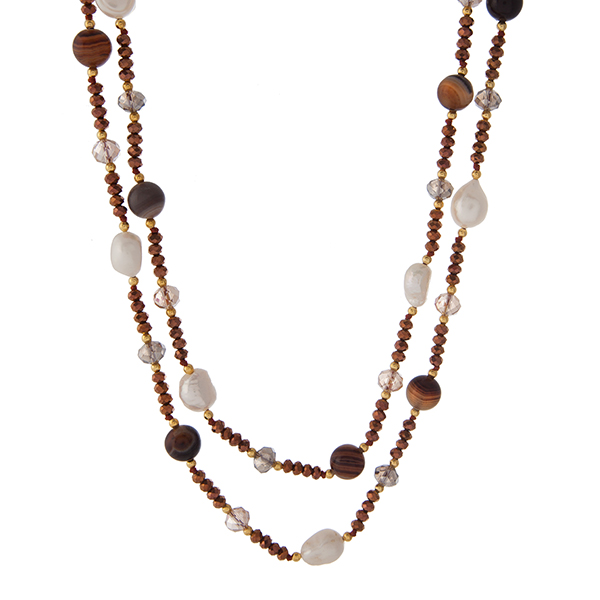 "Gold tone and bronze beaded necklace with freshwater pearls and brown agate natural stones. Approximately 48"" in length. Handmade in the USA."