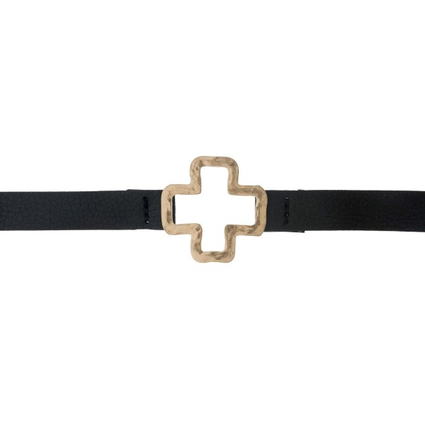 """Black faux leather choker with a hammered gold tone cross pendant. Approximately 12"""" in length."""