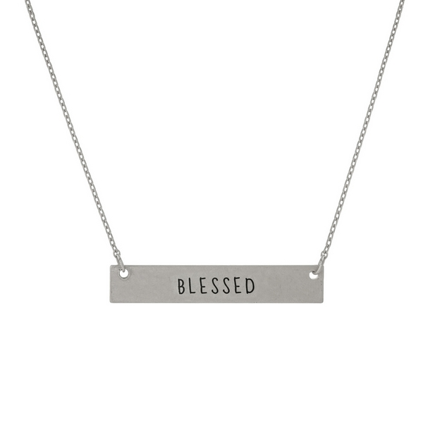 Wholesale dainty silver necklace bar stamped Blessed