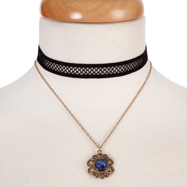 """Black and gold tone, double layer choker with a flower pendant, accented by a blue stone. Approximately 12"""" in length."""