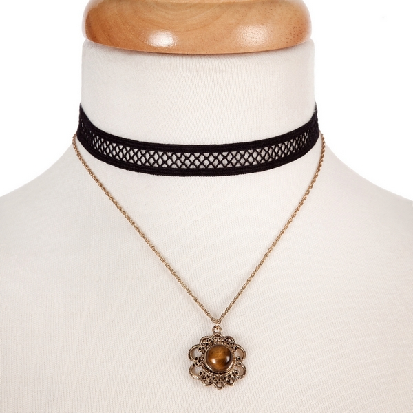 "Black and gold tone, double layer choker with a flower pendant, accented by a brown stone. Approximately 12"" in length."