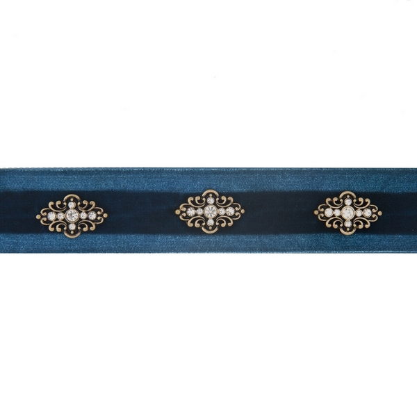 """Blue velvet choker with gold tone accents. Approximately 12"""" in length."""