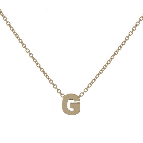 "Dainty, gold plated brass necklace with the 'G' initial charm. Approximately 16"" in length."