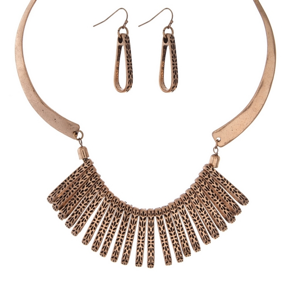 """Burnished gold tone statement necklace set with matching fishhook earrings. Approximately 16"""" in length."""