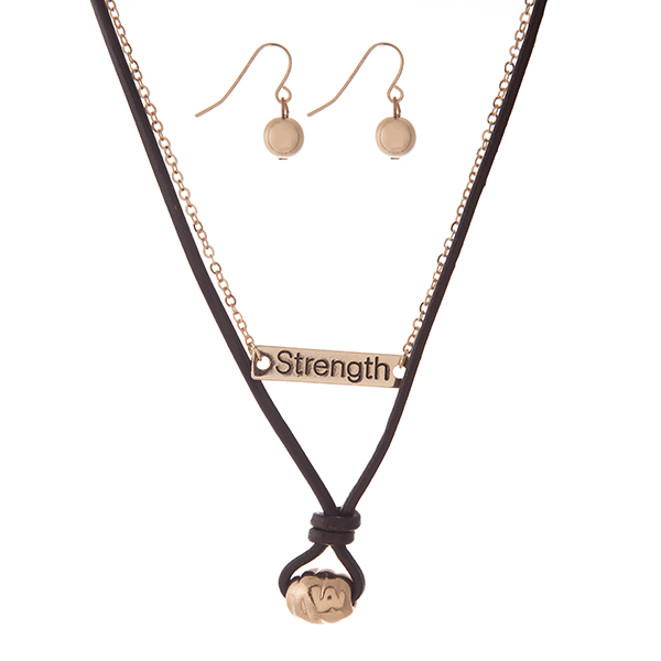 """Genuine leather and gold tone two piece necklace set with a bar focal, stamped with """"Strength."""" Approximately 16"""" in length."""