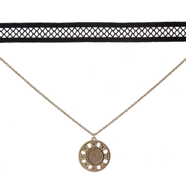 """Black and gold tone, double layer choker with a circle pendant, accented by a gray stone. Approximately 12"""" in length."""