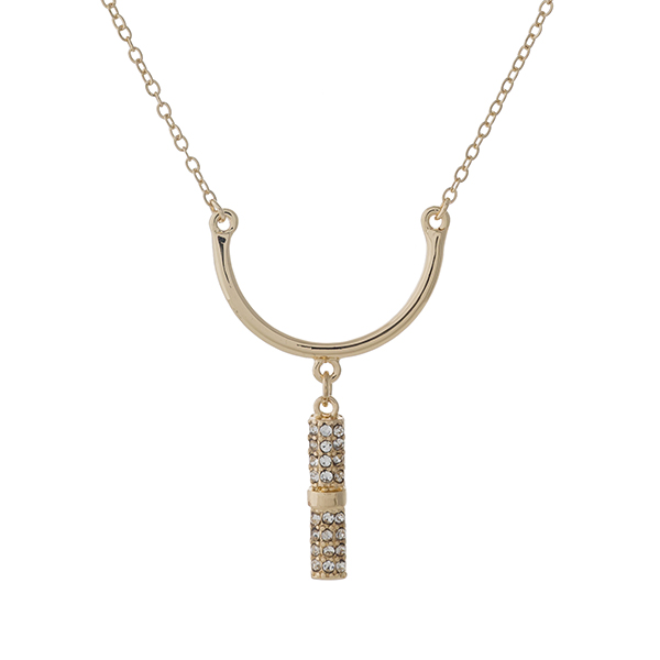 """Dainty gold tone necklace set with a curved bar pendant and clear rhinestone accents. Approximately 16"""" in length."""