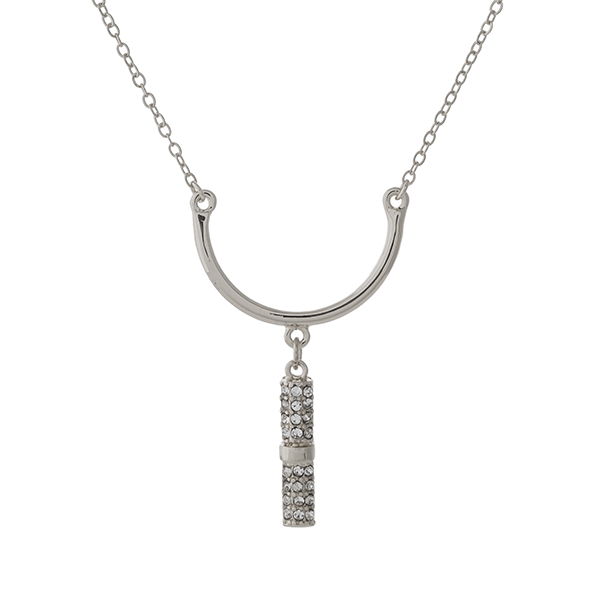 """Dainty silver tone necklace set with a curved bar pendant and clear rhinestone accents. Approximately 16"""" in length."""