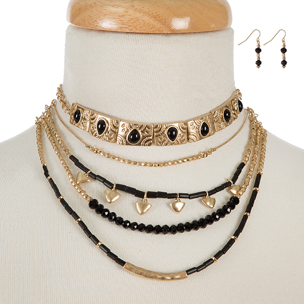 Wholesale gold black beaded layered choker matching fishhook earrings