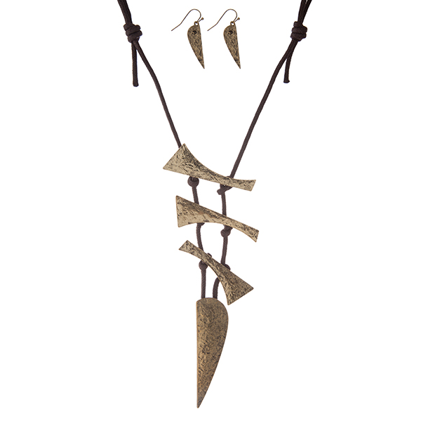 """Brown cord necklace with a hammered gold tone, geometric pendant. Approximately 30"""" in length."""