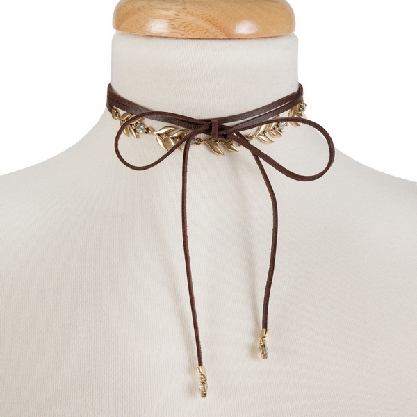 """Brown faux leather wrap choker with gold tone and clear rhinestone accents. Approximately 12"""" in length."""