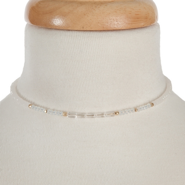 """Opal and clear beaded wire choker with a 3"""" extender and gold tone accents."""