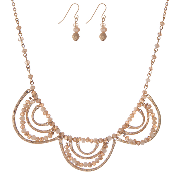 Wholesale gold necklace set ivory champagne beads scalloped matching fishhook ea