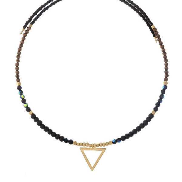 Black and bronze beaded memory wire choker with gold tone accents and a triangle pendant. Choker does not close, so it can fit up to almost any size.