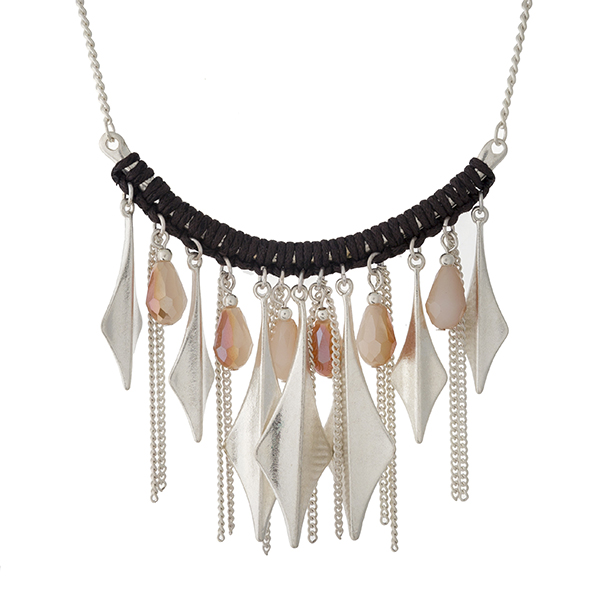"""Silver tone necklace with a curved bar, displaying chain fringe and champagne beads. Approximately 16"""" in length."""