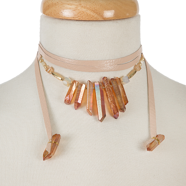 Wholesale mauve leather wrap necklace topaz crystals gold accents