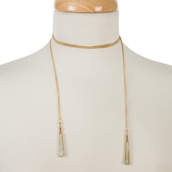 """Dainty gold tone wrap necklace with natural stones on the ends. Approximately 52"""" in length."""