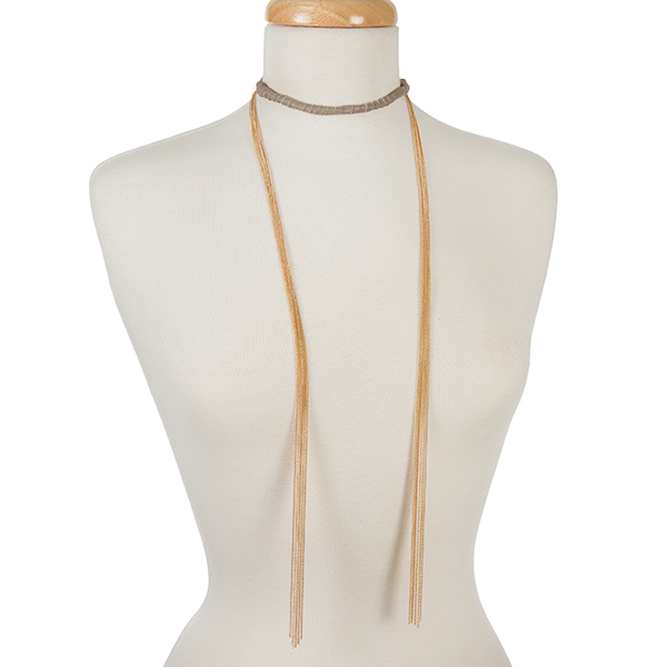 Wholesale gold open wrap necklace gray suede wrapped choker