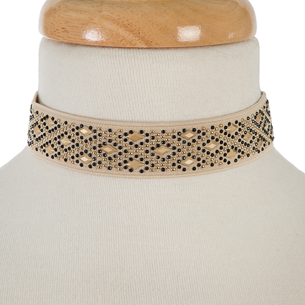 """Black, beige and gold tone elastic choker. Approximately 12"""" in length and 1.25"""" in width."""