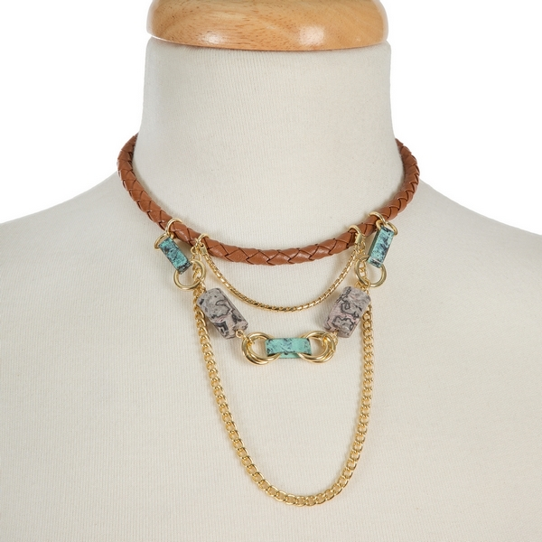 """Brown, braided, faux leather choker with gold tone accents and turquoise beads. Approximately 12"""" in length."""