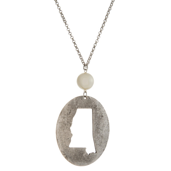 Wholesale burnished silver necklace Mississippi cutout pendant pearl bead Oval p
