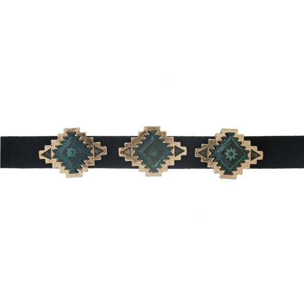 """Black faux suede choker with gold tone and patina bohemian focals. Approximately 12"""" in length."""
