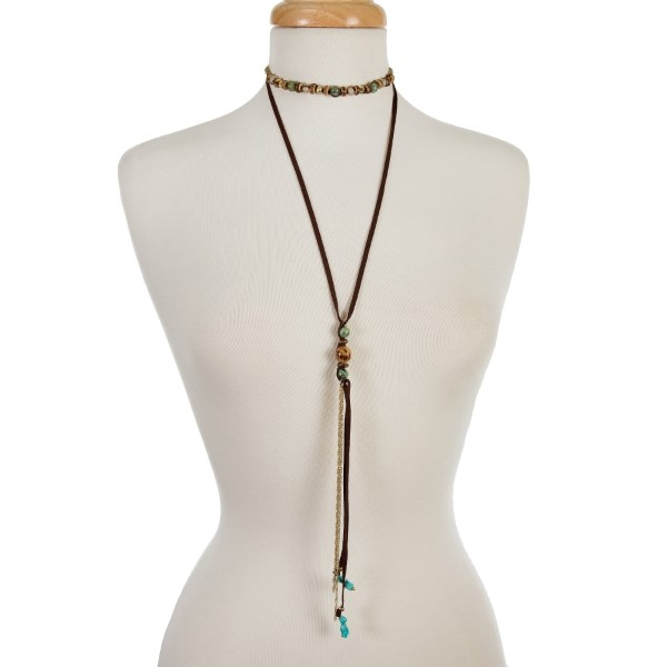 """Brown faux suede two layer choker with tan and ivory beads and gold tone accents. Approximately 12"""" and 27"""" in length."""