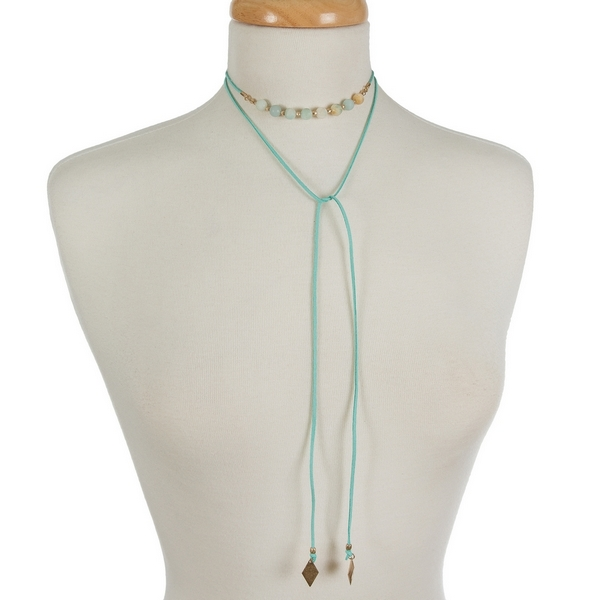 "Mint green faux suede wrap choker featuring amazonite beads. Approximately 12"" in length."