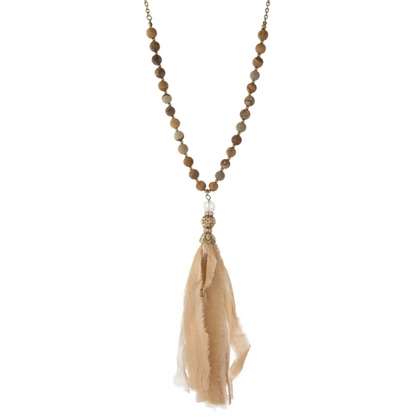 Wholesale gold necklace displaying picture japser beads neutral tassel