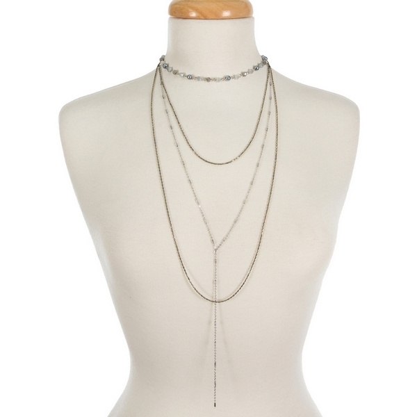 "Silver tone dainty layered necklace featuring gray, opal and freshwater pearl beads. Approximately 13"" to 30"" in length."
