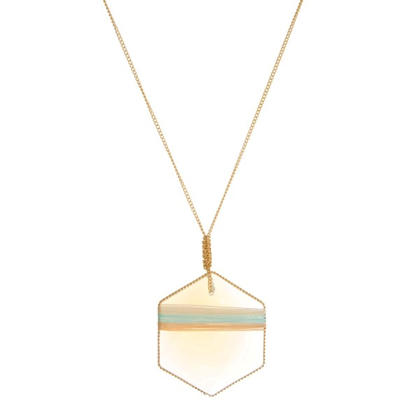 """Gold tone necklace with a thread wrapped opal stone pendant. Approximately 30"""" in length."""