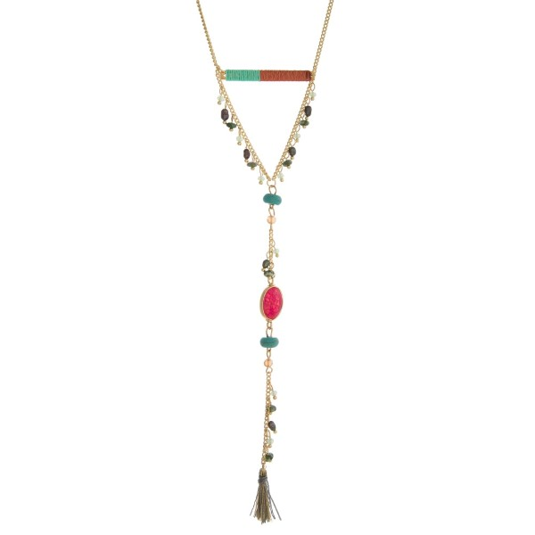 Wholesale gold necklace mint green coral thread wrapped bar fabric tassel pendan